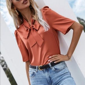 Neck tie satin blouse